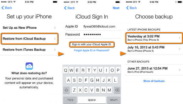 select icloud backup entry to restore