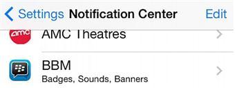 notification center on ios 7.1