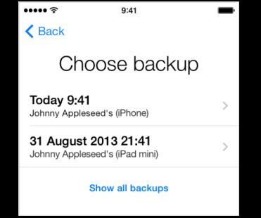 choose icloud backup