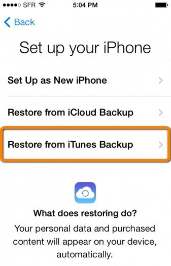 restore iphone from itunes mode