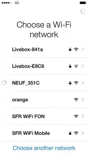 seletc wifi network