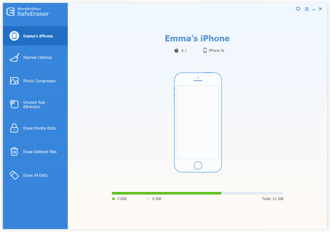 iphone data eraser interface