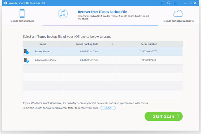 choose recovery mode as from itunes backup